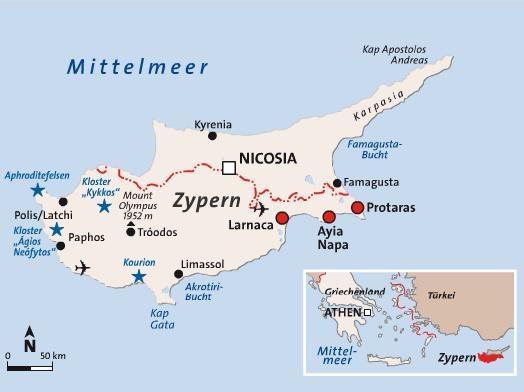 Zypern-Landkarte